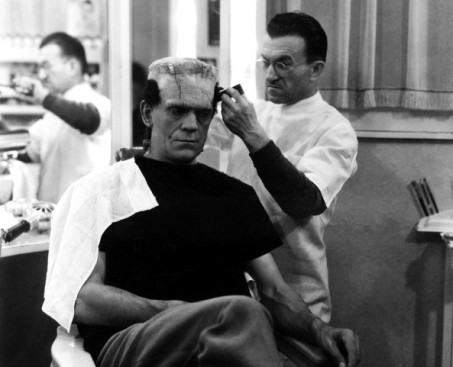 Jack Pierce and Boris Karloff